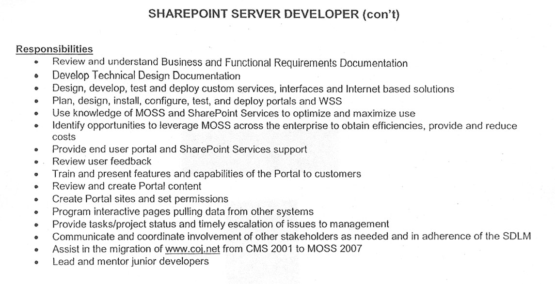 Sharepoint Developer Resume patricia todd sharepoint resume Please Be Sure To Submit Updated Resume Citystate You Live In Hourly Rate Work Status Additional Skills And Why You Are Qualified For The Position